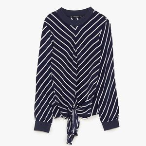 Stripped top with knotted front